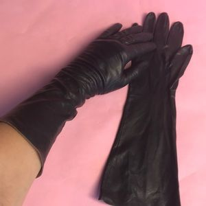 Vintage black leather long gloves